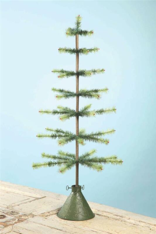 """Bethany Lowe Vintage Christmas 39"""" Two-Toned Green Feather Tree Tin Cone Base"""