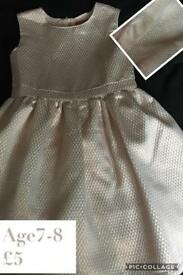 Girls rose gold party dress 7-8y