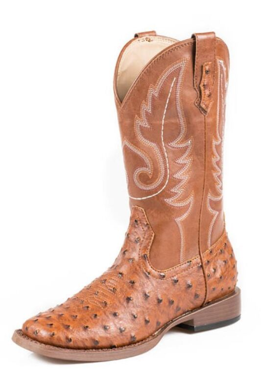 Roper, Western, Boots, Men, Square, Toe, Ostrich, Tan, 09-020-1900-0807, TA
