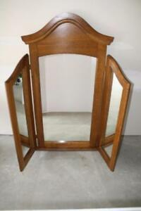 Vintage Solid Oak 3 Way Chapel Mirror