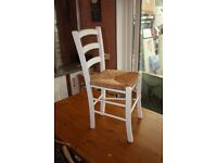 White Painted Rush Seat Dining or Bedroom Chair