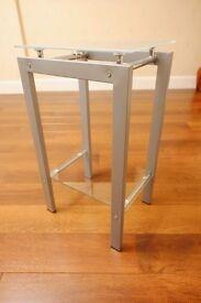 Glass and metal 2 shelf side/telephone table