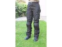 LADIES TEXTILE BLACK MOTORBIKE TROUSERS
