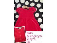 Girls velvet dress 2-3y