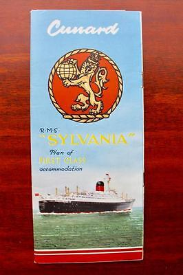 CUNARD WHITE STAR LINE RMS SYLVANIA 1ST CLASS PULLOUT DULXE DECK PLANS