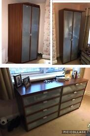 IKEA furniture dark drown wood and glass wardrobes and drawers