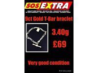 9ct Gold t-bar braclet