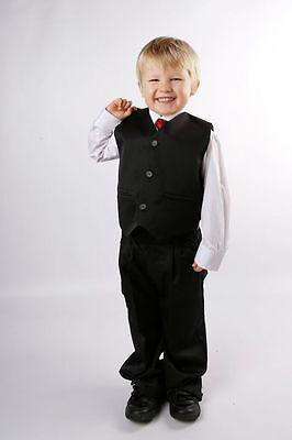 Jungen schwarz Anzug Wert 5 Stück Hochzeit Ball Beerdigung alter 1-15 Jahre NEU