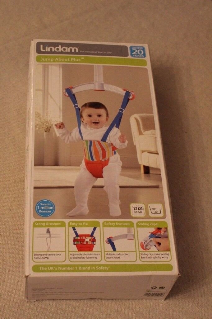 Red Lindam Baby Door Bouncer in box
