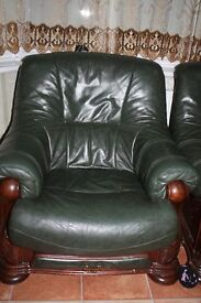 Italian leather sofa Green colour - two singles