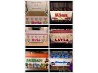 Children's personalised toy boxes