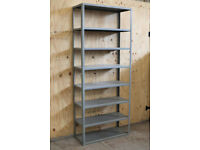 1 x Bay Used Metal 2.2m / 7ft 3in Solid Steel Heavy Duty Warehouse Industrial Shelving