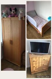 Oak veneer , children's wardrobe , drawers and junior bed