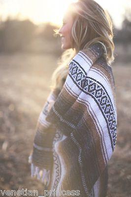"Authentic Tan Mexican Falsa Blanket Hand Woven Yoga Mat Blanket 74"" x 50"""