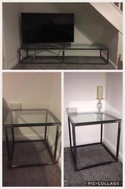 Industrial raw steel and glass units - 2 side tables and tv unit