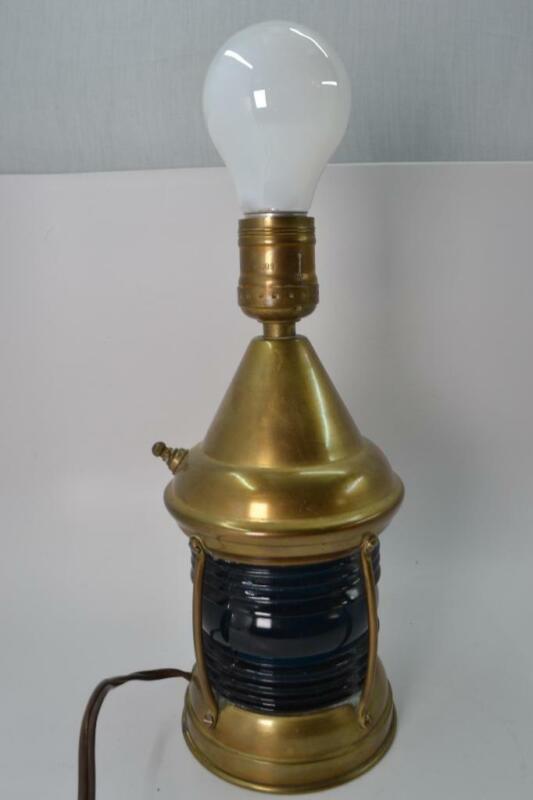 Vintage PERKO Perkins Marine Lamp & Hardware Corp Blue Glass Ship Table Lamp R2T
