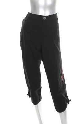 New Women's Style & Co. Black Capri Pants Embroidered floral Leg Pants Sz 6
