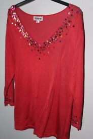 Beaded long sleeve coral top, size 20
