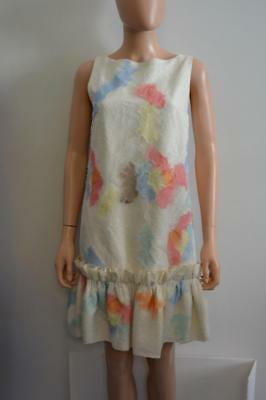 NWT Huishan Zhang Barney's Ivory/Pastels Lace/Silk Sleeveless Dress UK 8/US 4