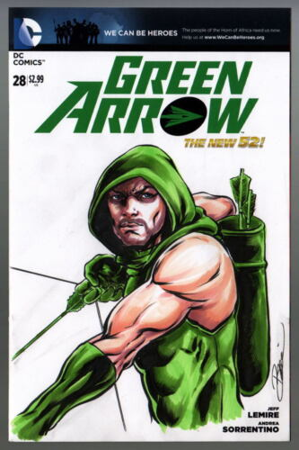 DC Sketch Cover GREEN ARROW / Stephen Amell Original Full Artwork by DAMON BOWIE