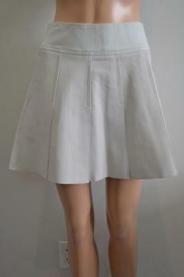 NWT Vince Light Grey Chevre Leather/Cotton Pleated Mini Skirt Size 0 $595