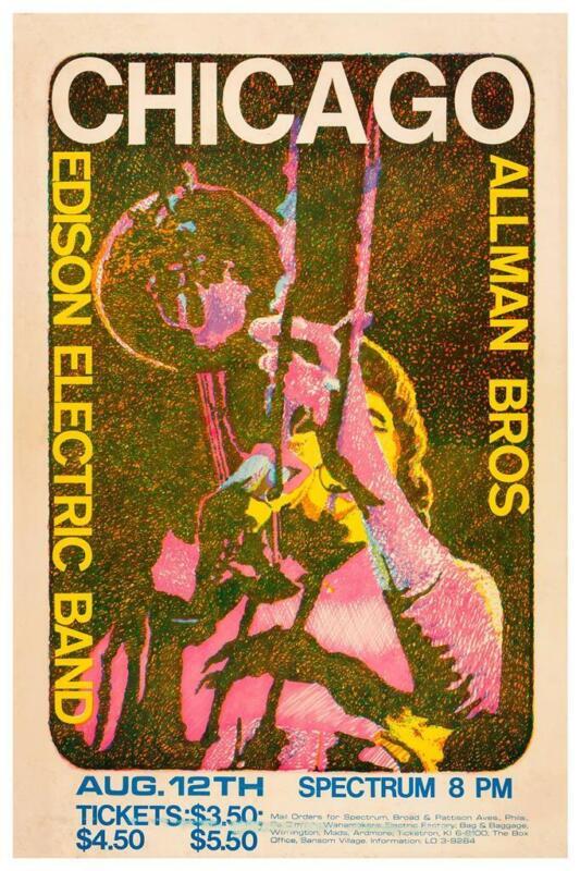 Chicago - POSTER - Allman Brothers LIVE CONCERT wall art Print 1970 Philadelphia