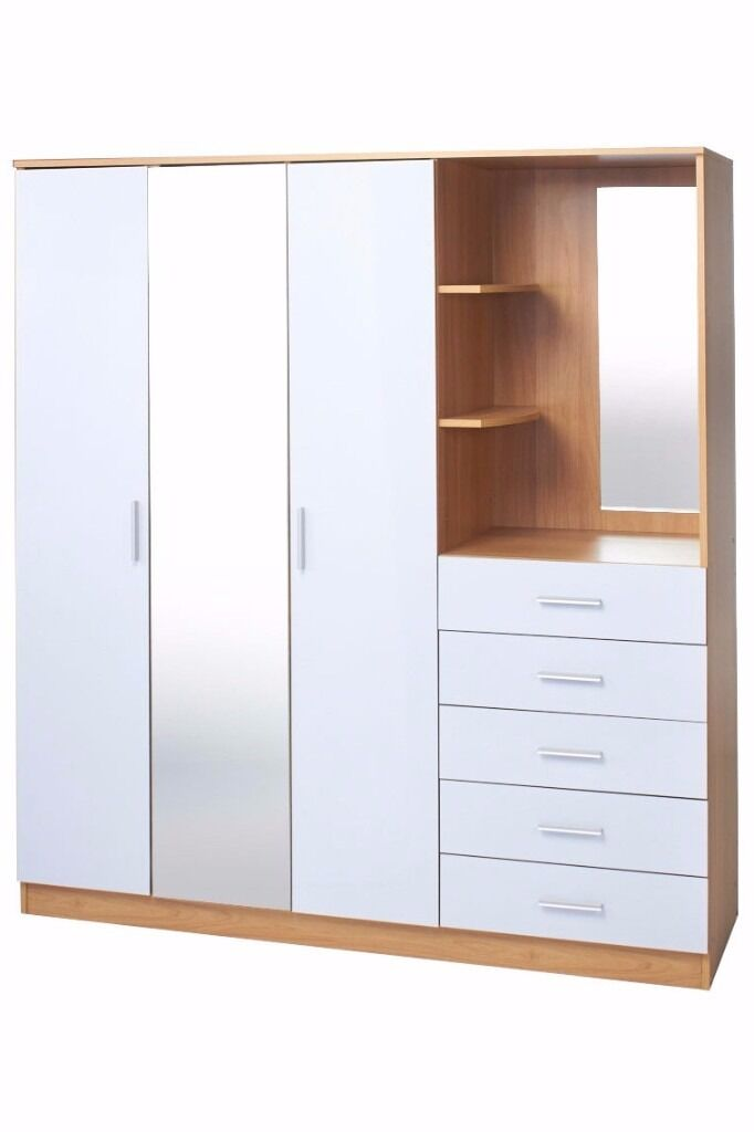 Brand New Oak High Gloss White bi Unit 3 door Wardrobe 5