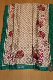 Gucci Green / Pink shawl scarf wrap 100% silk