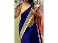 Bollywood Indian Party Wear Beige Pink Saree Sari Bridal Wedding Pakistani Sai-71