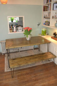 Industrial Kitchen Table and x2 Benches Mid Century Style hairpin 120x60cm