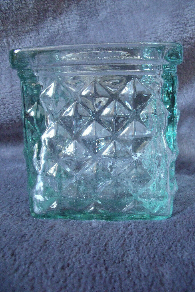 Recycled raised design green glass cube container. Excellent condition.