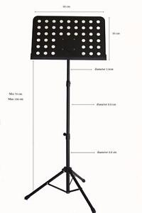 Music Stand adjustable Heavy duty Metal Sheet Tripod Holder Black iMS910