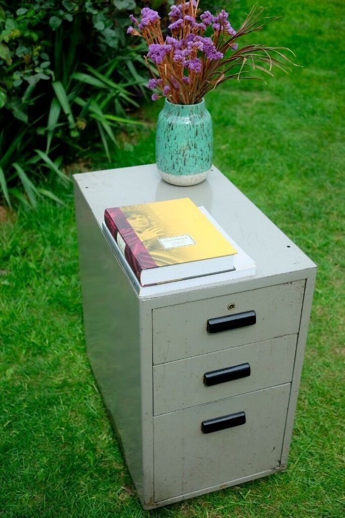 Vintage 1950s Steel 3 Drawer Filing Cabinet RETRO INDUSTRIAL Mid century