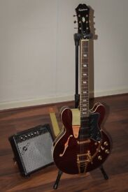Gibson Epiphone P93 custom riviera electric guitar with amp, fender strap and stand