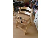 Hauck Alpha Wooden Height Adjustable High Chair with 5 point harness