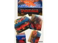 Spiderman bedroom bundle toybox, toy tidy, bedside table, cushion and 3d picture £40