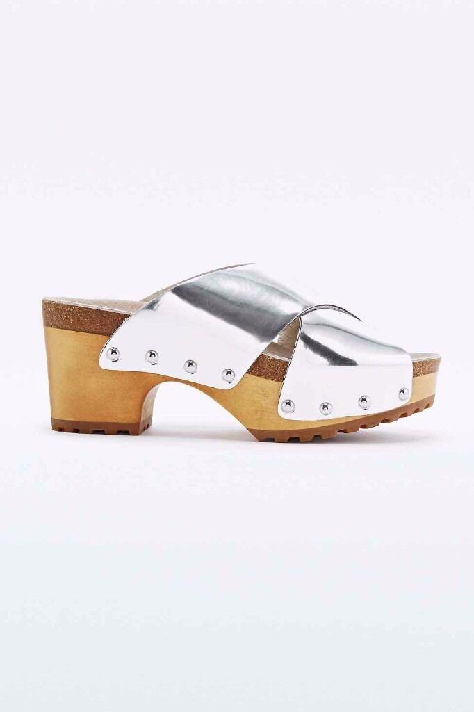ef22cd12de Ecote Mimi Wood Sole Clogs In Silver, heel | in South East London ...