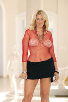 Fence net long sleeve cami top. Red