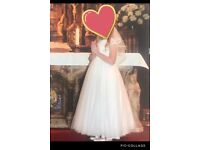 Girls Holy Communion Dress, Veil and headpiece