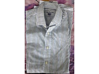 TM Lewin Mens white striped slim fit long sleeve shirt size 16.5 inch