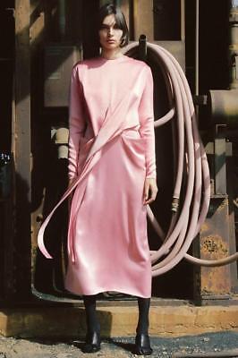 Satin Waist Wrap Dress - CELINE Wrapped Waist Red Dress Crepe Silk Satin Phoebe Philo Pre-Fall 2017 sz 40