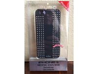 BLACK ROCK ROUND STUDS IPHONE SNAP-ON SHELL COVER, FOR IPHONE 5, 5S, SE (NEW)
