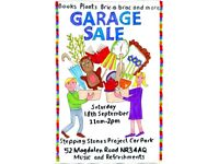 GARAGE SALE Saturday 18th September 11am-2pm plants, books, dvds, cakes, craft materials and more.