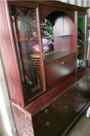 wooden side unit full sized display cabinet with lights glass doors