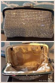 New gold crystal bag/clutch bag