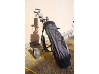 Set of 12 golf clubs with caddy