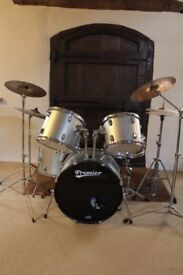 5 Piece Premier Drum Kit inc. Cymbals, Stands, Pedals and Stool