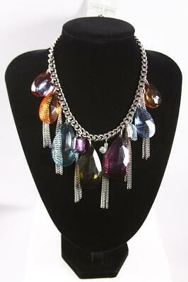Multi-Pendant Necklace Premium Fashion Jewelry Colorful Silver Tone jxye New