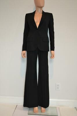 Chloe Black Wool Pinstripe Jacket/Blazer/Flare Pant Suit Size 38
