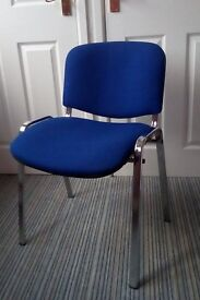Set of 4 chromed steel stacking chairs